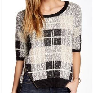 Lucky Brand Plaid Pullover Sweater With Zippers